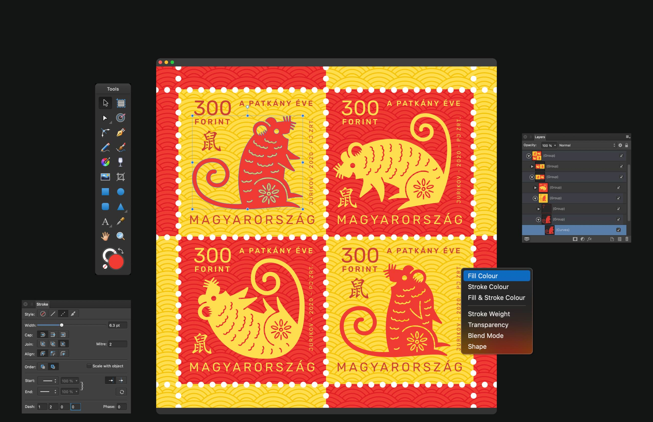 Menu with Fill Color selected atop a red and yellow set of stamps, surrounded by other open menus and tools