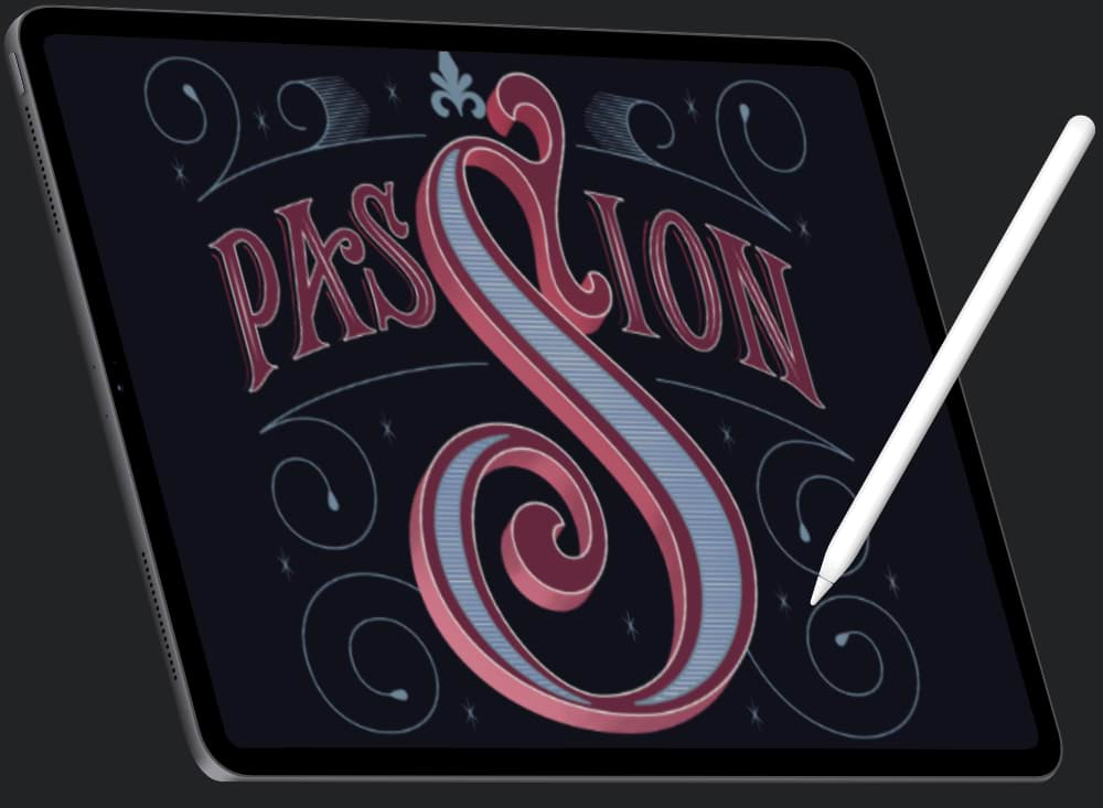 Apple iPad with vector artwork on the screen and an Apple Pencil to the side