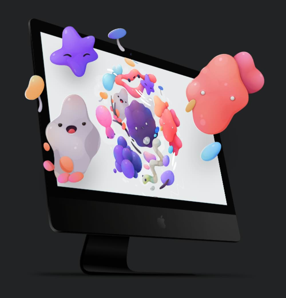 Mac computer screen with vector artwork flying out of it
