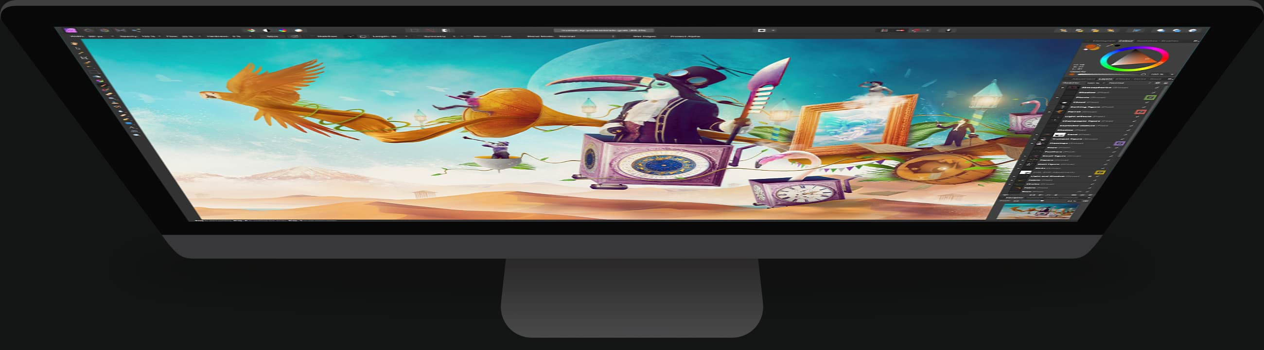 Desktop computer with Affinity Photo open, featuring surreal composition of toucan and other animals travelling across desert