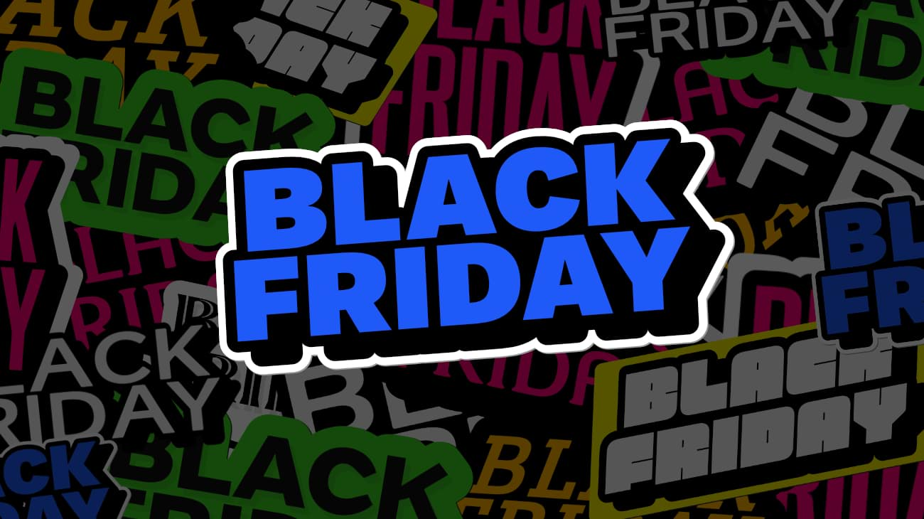 Collage of vibrantly colored BLACK FRIDAY stickers in different shapes and sizes