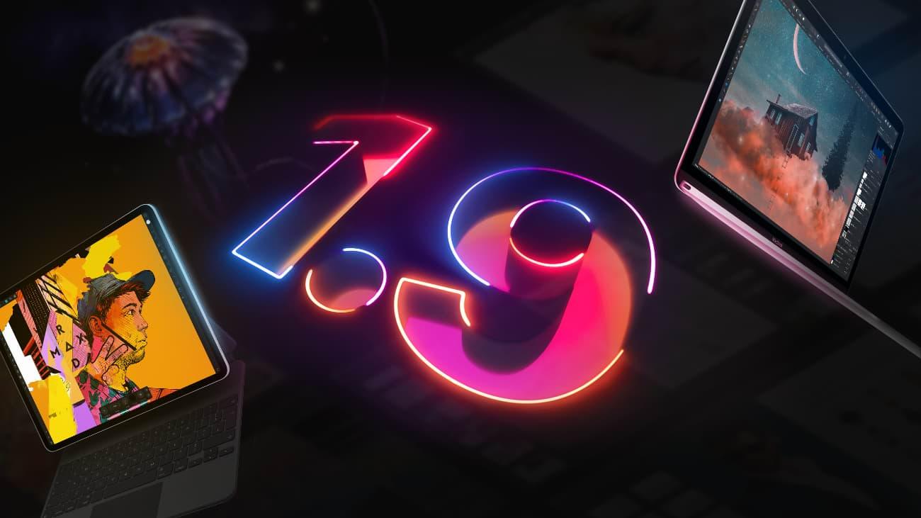 数字 1.9 以霓虹蓝、粉和橙点亮,四周环绕屏幕,显示 1.9 版 Affinity 的新功能