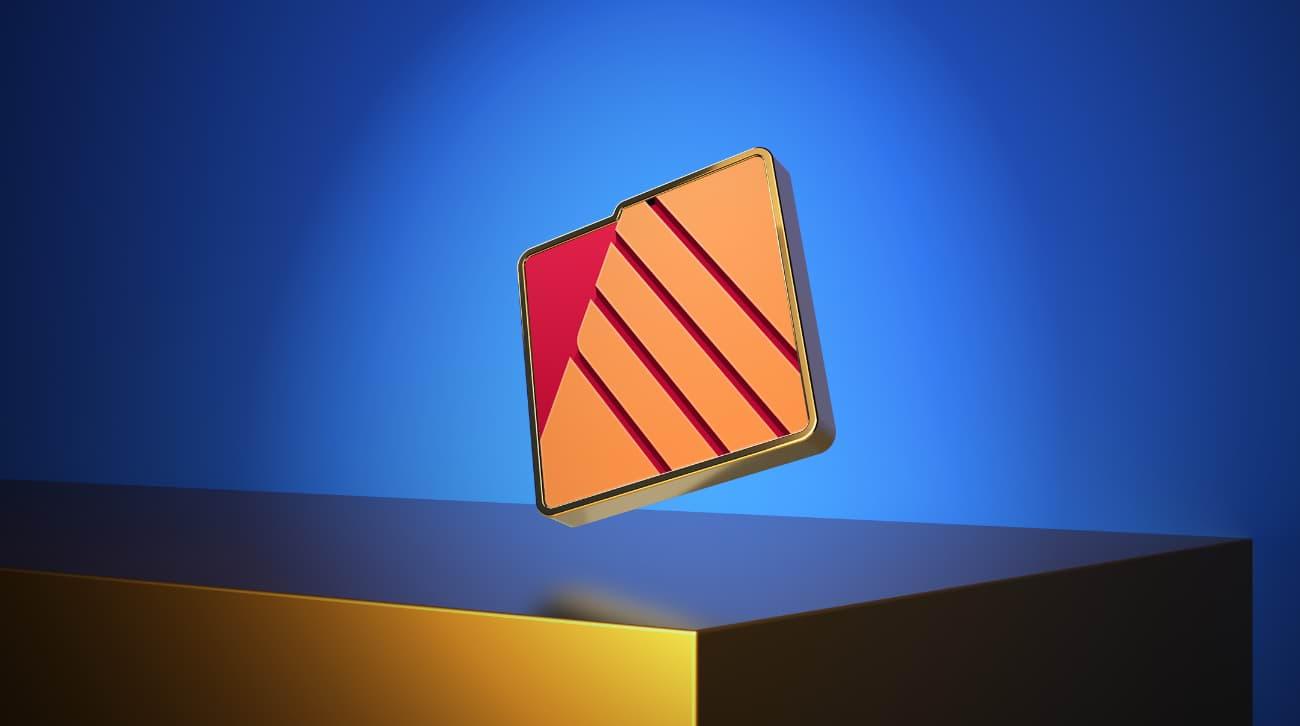 Icona di Affinity Publisher in equilibrio, su sfondo blu, al di sopra al premio app Mac dell'anno di Apple