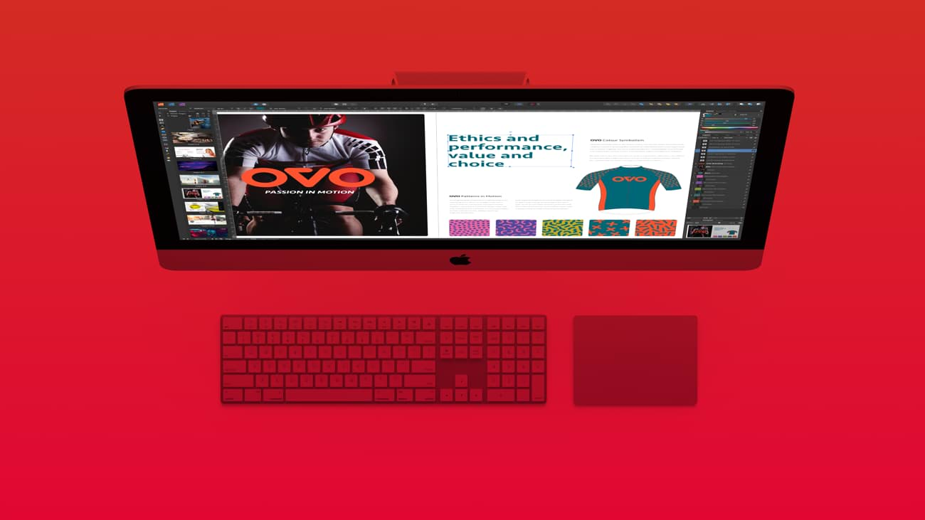 iMac computer with Affinity Publisher UI on the screen on red background