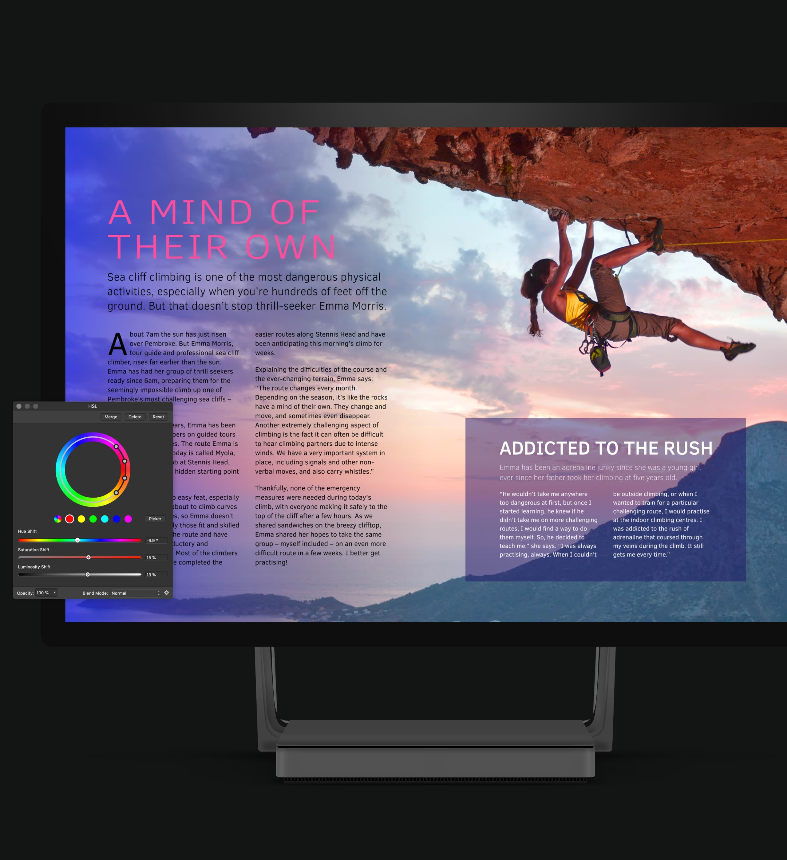 "Surface Studio with a magazine article mockup on the screen. The article is titled ""A Mind of Their Own"" and features an image of a woman rock climbing. An Affinity Publisher colour wheel is in the bottom left of the image."