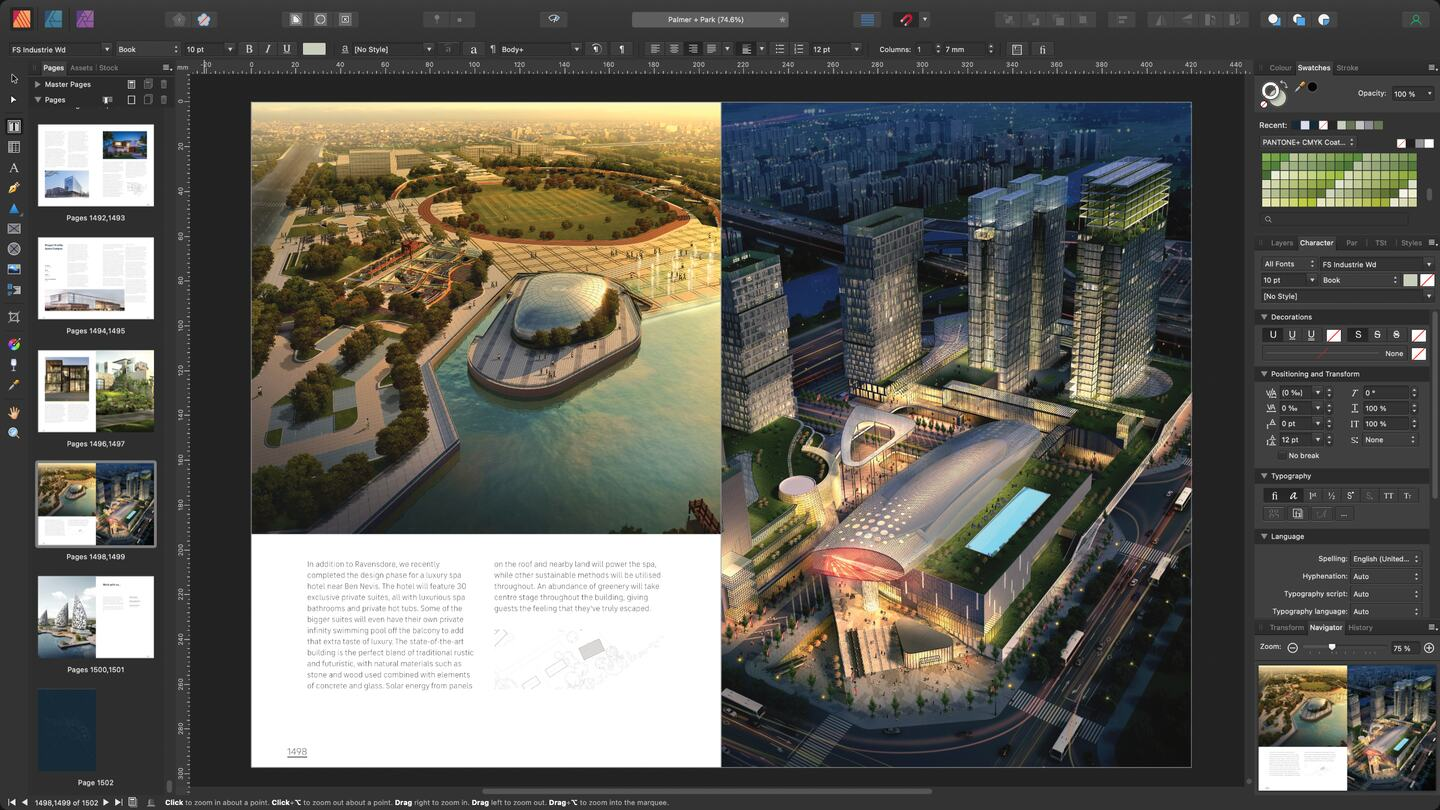 A massive document with many high-res images open in Affinity Publisher