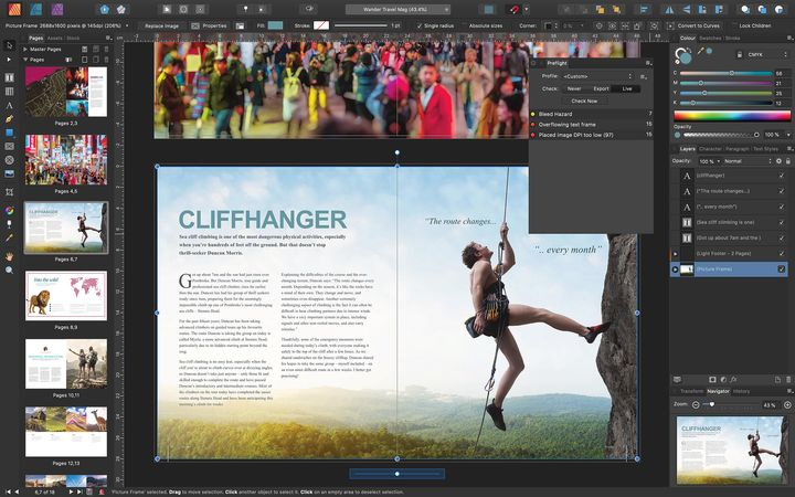 Travel magazine being created in Affinity Publisher showing CLIFFHANGER feature layout including mountain climber and text