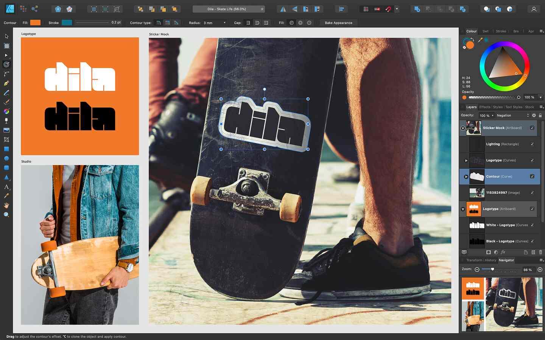 Affinity Designer enthält ein neues Umrandungswerkzeug.