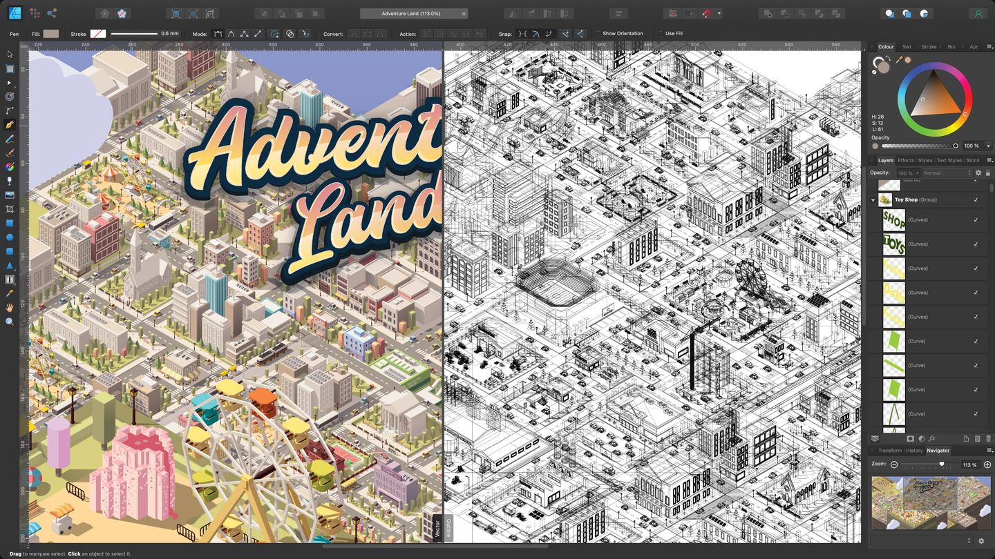 A complex document featuring thousands of layers and objects open in Affinity Designer